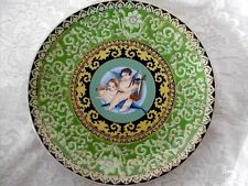 Collectible Hand Painted Asian Cherubs/Angels & Harp/Horn Plate - Green/Gold
