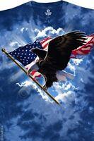PATRIOTIC FLYING EAGLE-BALD EAGLE-TIE DYE T-SHIRT-PATRIOT-FLAG-M-L-XL-XXL
