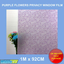 PURPLE FLORAL FROSTED DECORATIVE WINDOW FILM - 92cm x 1m Roll S034