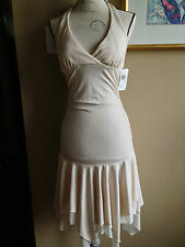 City Triangles New  Special Occasion Halter Dress Ivory Metallic Size M CD83