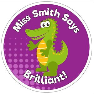 80 Personalised Teacher Reward Stickers for Pupils purple crocodile well done