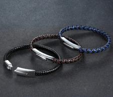 "Men/ Women 6 mm Flat  Braided Genuine Leather Wristband Bangle Bracelet 7.5-8.3"""