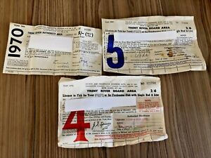3 Vintage Rod Licences 1964, 1965 & 1970