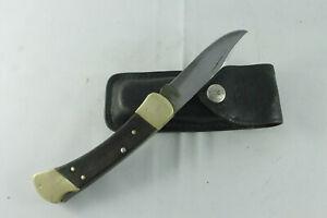 Vintage 1980 Buck 110 Folding Hunter Knife w/.Sheath, 3-dot USA