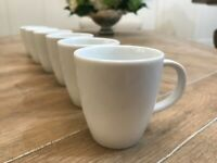 6 Pc Crate & Barrel White Porcelain Demitasse Espresso Cup
