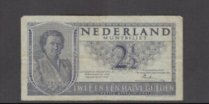 2 1/2 GULDEN FINE BANKNOTE FROM THE NETHERLANDS 1949 PICK-73
