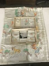 "Vtg Bleach Linen Damask Tablecloth & Napkin Set Ireland Moonglow 54"" x 72"""