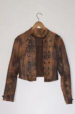 *WOW* AllSaints Vintage Ladies leather BROCADE Cropped Military Jacket UK10 US6