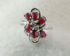 925 Sterling Silver ladies Garnet Cluster RING size 8