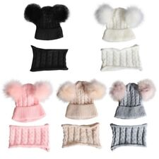 Baby Hat And Scarf Set Knitted Winter Warm Snood Pom Hats Boy Girl 1-4T