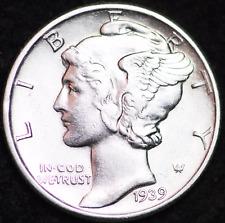 1939-P Au Mercury Dime / Philadelphia Mint Almost Uncirculated 90% Silver Coin