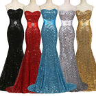 Sequins Mermaid Long Prom Formal Evening Gown Ball Party Bridesmaid Dress STOCK