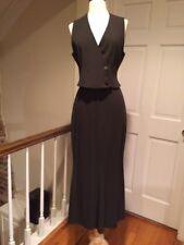 Vtg Ann Klein by Donna Karan Gray Wool Blend Skirt Suit Vest Midi Length Size 6