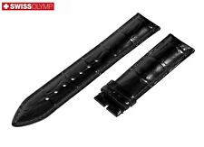Fits BREGUET Glossy Black Genuine Leather Watch Strap Band For Buckle Clasp