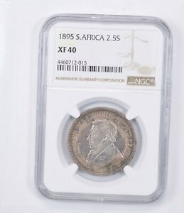 XF40 1895 South Africa 2 1/2 Shillings - Graded NGC *1322
