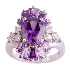 Oval Cut Nice Amethyst White Topaz Gemstone Jewelry Silver Ring Size 9 Free Ship
