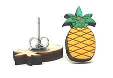 Unpossible Cuts Pineapple Handmade Wooden Peg Stud Earrings Jewelry Made in USA