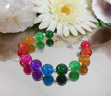 Auffallende CRACKLE Kugel 12mm GLAS Perlen Armband bunte Regenbogen Farben