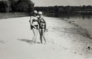 1970s Vintage Photo Public Beach Russian Young Women Sunbathe Snapshot