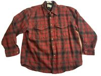 Pendleton Mens M Medium Long Sleeve Button Outdoor Shirt 100% Wool Plaid Red
