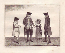 JOHN KAY original antique Gravure. M. James Rae, le Dr William Laing..., 1786