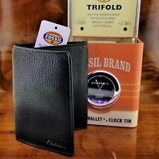 New Vintage Mens FOSSIL Black Top Grain Leather TRIFOLD Wallet & Desk Clock Tin