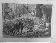 1875 CI CHASSE ILLUSTREE MESSE CHASSEURS JOUR SAINT HUBERT CLOCHE CROIX COR