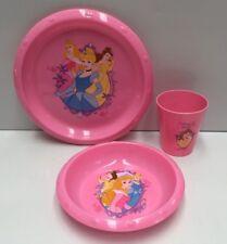 DISNEY PRINCESS KIDS PLASTIC MEALTIME PLATE & BOWL & DRINKING CUP