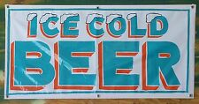 "Teal and Orange ""Ice Cold Beer"" Banner Sign 24"" X 48"" handmade w/ team colors."