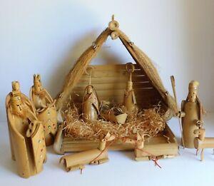 Potzu Studios Bamboo Folk Art Nativity Set Hand Carved Sequined 11 Piece 1970