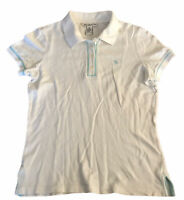 Abercrombie & Fitch Women's Polo T Shirt White Medium Stretch S/S Cotton Blend