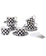 Checkered Coffee Cups And Saucer Set Of 6