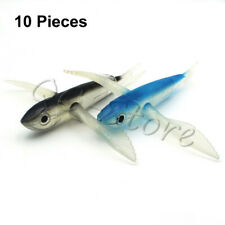 Lot 10   Flying Fish Lure Deep Sea Trolling Lifelike Soft Body Blue Tuna Bait
