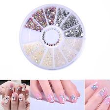 Nail Art Tips Gems Crystal Rhinestones Decoration Wheel 4Colors