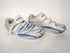 Shimano Women's Offset Cycling Road Shoes Blue White 3-Bolt Cleat Wr61 Us 8.5