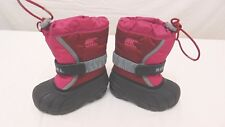 Sorel Flurry Snow Boots Kids Little Girls Size 7 Red Pink Winter Insulated
