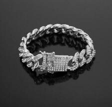 "Hip Hop Bracelet ICED MIAMI CUBAN  White Gold Finish 8""*12mm"