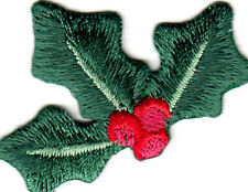 Holly & Berries Christmas Decorations Iron On Embroidered Patch
