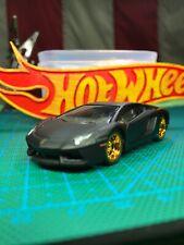 🔴2013 Hot Wheels Custom LAMBORGHINI AVENTADOR LP 700-4 With Real Riders'Black