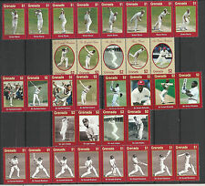 GRENADA 2000 WISDEN CRICKETERS of CENTURY Set of 33v in Strips MNH