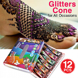 Golecha Giltter Multicolor Mehandi Cones Temporary Tattoo 12 Pcs Free Book