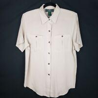 Orvis Womens Tan 100% Silk Shoulder Pads Short Sleeve Button Shirt Size Small