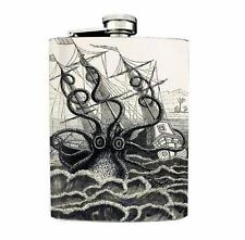 Kraken Vintage Octopus Design 02 Flask 8oz Stainless Steel Ship Attack B&W