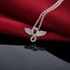 925 Sterling Silver Infinity Eternity Love Angel Wing Small Pendant Necklace 18""
