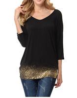 New-Women's V Neck Tunic Top Shirt Gold Glitter-Hem Dolman Top