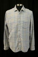 FAHERTY Reversible Flannel Button-Up Shirt Gray Blue Plaid Modern Mens XL