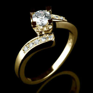 0.75 CARAT VS REAL DIAMOND ENGAGEMENT RING W ACCENTS SIZE 5.5 6 6.25 6.5