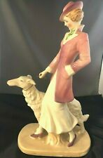 RARE This Antique 30's Lady Walking Barzoi Glazed Art Pottery Figurine or Statue