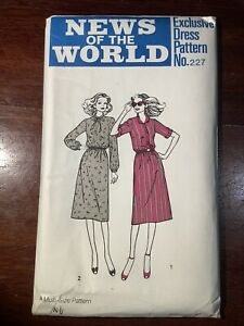 New Vintage NEWS OF THE WORLD Misses Dress Pattern 227  Size 12-18  Uncut