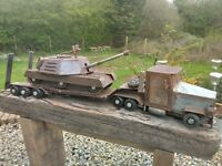 model lorry tank transporter with tank hand made one off
